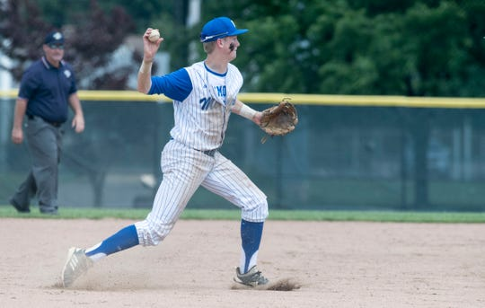 Memorial's Micheal Lindauer (22) throws to first during the IHSAA Class 3A Baseball Regional game against the Vincennes Lincoln Alices at Charles H. Braun Stadium Saturday, June 1, 2019.