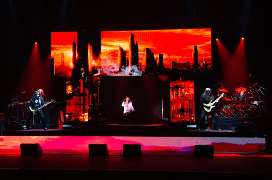 "The Dio Disciples and the Ronnie James Dio hologram rehearse for Friday's ""Dio Returns"" show at Barbara B. Mann Performing Arts Hall."