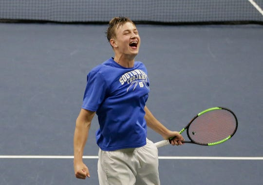 Green Bay Southwest's Johnny Zakowski reacts after winning the Division 1 singles championship Saturday at the WIAA state boys tennis state tournament at Nielsen Tennis Stadium in Madison.