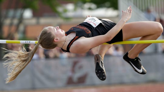 Kaukauna's Olivia Van Zeeland leaps to the WIAA Division 1 state high jump title Friday in La Crosse.