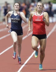 Neenah High School's Krista Baumgartner runs in the Division 1 400-meter dash during the WIAA state track and field meet on Saturday, June 1, 2019, at Veterans Memorial Stadium in La Crosse, Wis. Baumgartner finished third in the event.