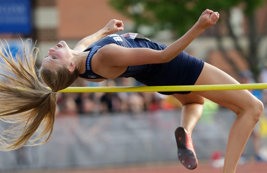 Bay Port's Ella Meeuwsen competes in the Division 1 high jump during the WIAA state track and field meet Friday at Veterans Memorial Stadium in La Crosse.