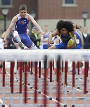 Crivitz High School's Ezekial Lawrence runs in the Division 3 110-meter hurdles during the WIAA state track and field meet on Saturday, June 1, 2019, at Veterans Memorial Stadium in La Crosse, Wis.