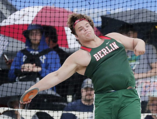 Berlin's Bradon Gulch throws in the Division 2 discus competition at the 2019 WIAA state track and field meet at Veterans Memorial Field on Saturday, June 1, 2019 in La Crosse, Wis.