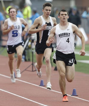 Rosholt's Adam Rzentkowski runs to a first-place finish in the 1,600-meter run in Division 3 on Saturday at the WIAA state track and field meet at Veterans Memorial Stadium in La Crosse.