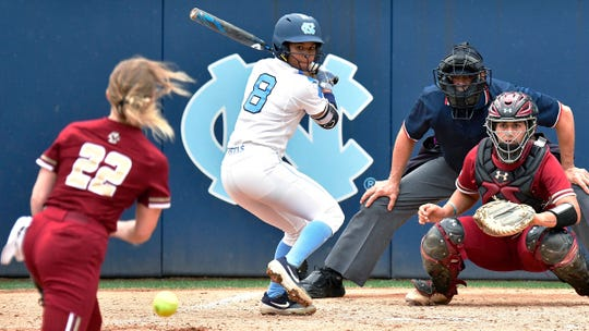 Former softball star for the North Carolina Tar Heels Kiani Ramsey gets ready to swing in these file photos from her previous season.