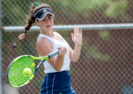 Cathedral High School number three singles player junior Claire Kocielski during the 45th Annual Girls' Tennis Team State Finals, Saturday, June 1, 2019, at North Central High School in Indianapolis.