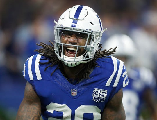 Colts free safety Malik Hooker celebrates his game-sealing interception against the Giants in Dec. 2018.