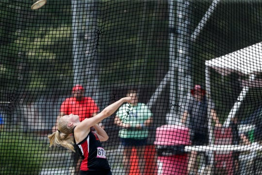 Rensselaer Central's Hannah Redlin competes in the discus throw during the IHSAA Girls Track & Field State Finals, Saturday, June 1, 2019, at Indiana University's Robert C. Haugh Track & Field Complex in Bloomington.