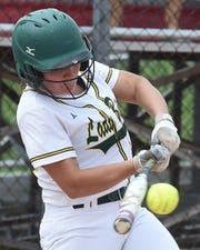 Bison senior Cassidy Minniear connects in IHSAA Softball semi-state action Saturday at Twin Lakes.