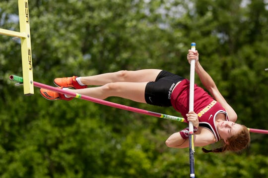 McCutcheon's Sabrina Robison competes in the pole vault during the IHSAA Girls Track & Field State Finals, Saturday, June 1, 2019, at Indiana University's Robert C. Haugh Track & Field Complex in Bloomington.