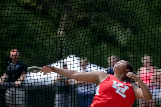 West Lafayette's Alaina Omonode competes in the discus throw during the IHSAA Girls Track & Field State Finals, Saturday, June 1, 2019, at Indiana University's Robert C. Haugh Track & Field Complex in Bloomington.