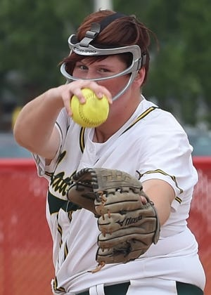 Senior pitcher Stephanie Cummings stares down the batter for Benton Central Saturday at Twin Lakes.