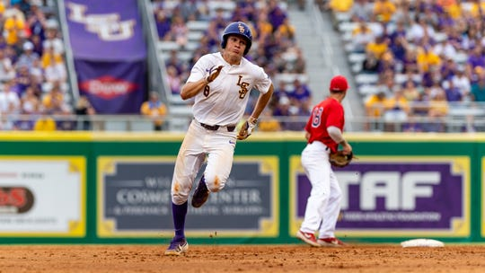 Antoine Duplantis rounds second as The LSU Tigers take on the Stony Brook Seawolves in the 2019 NCAA Regional Tournament in Baton Rouge, LA. Friday, May 31, 2019.