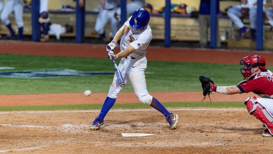 Antoine Duplantis ties Eddy Furniss for the all-time hits record at LSU as the LSU Tigers take on the Stony Brook Seawolves in the 2019 NCAA Regional Tournament in Baton Rouge Friday, May 31, 2019.