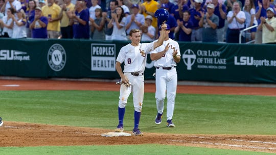 Antoine Duplantis ties Eddy Furniss for all-time hits record at LSU as the LSU Tigers take on the Stony Brook Seawolves in the 2019 NCAA Regional Tournament in Baton Rouge Friday, May 31, 2019.