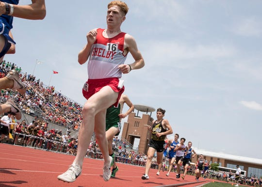 Shelby's Caleb Brown, shown here at the state meet, has added a national title to the three gold medals he won in leading the Whippets to the Division II state championship.