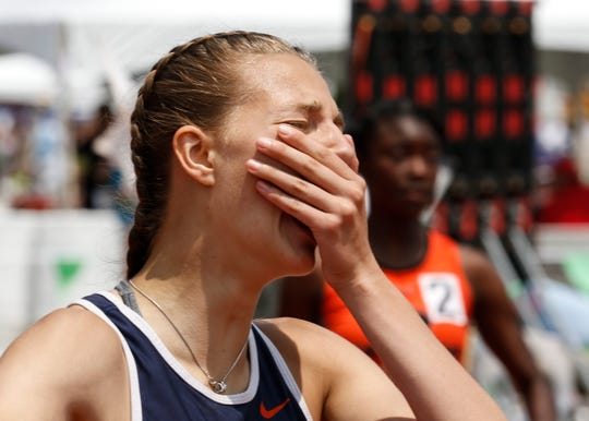 Galion's Kerrigan Myers reacts after winning a Division II state title in the 100 hurdles.