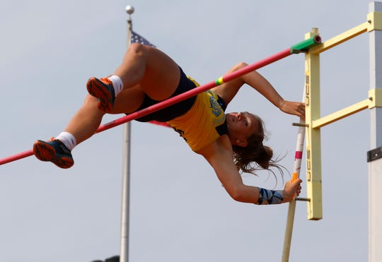 River Valley's Gemma Starrs clears the bar in the Division II girls pole vault Saturday, June 1, 2019, at the state track and field meet at Jesse Owens Stadium in Columbus.