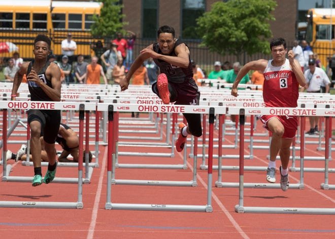 John Glenn's Joseph Clifford competes in the boys 110-meter hurdles during a Division II state final on Saturday, June 1, 2019, at the Jesse Owens Memorial Stadium in Columbus, Ohio.