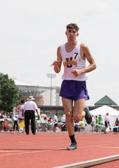 Unioto's Jaden Watkins competes in the boys 3200-meter run during a Division II state final on Saturday, June 1, 2019, at the Jesse Owens Memorial Stadium in Columbus, Ohio.
