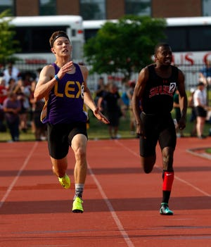 Lexington's Alex Green finishes second in the 200 meter dash at the 2019 state track and field meet in Columbus.