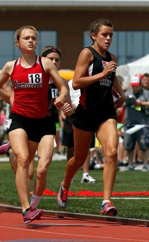 Fairfield Union's Mackenzie Davis runs in the Division II girls 800 meter run Saturday, June 1, 2019, at the state track and field meet at Jesse Owens Stadium in Columbus.