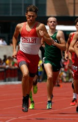 Shelby's Blake Lucius competes in the 800 meter run at the state track meet en route to one of the four state championship gold medals he won, indoors and outdoors, in 2019.