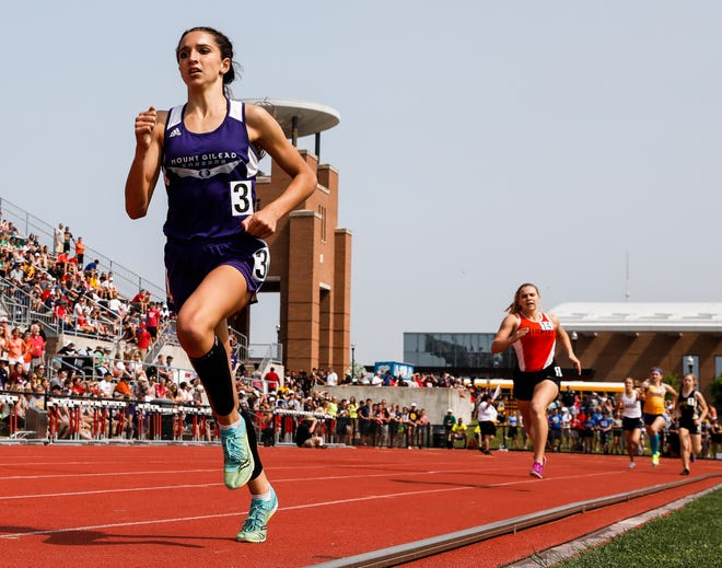 Mount Gilead sophomore Allison Johnson en route to winning a Division III state title in the 800.