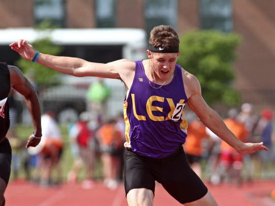 Lexington's Alex Green takes second in the Division I 100 dash. He would come back to also nab second in the 200.