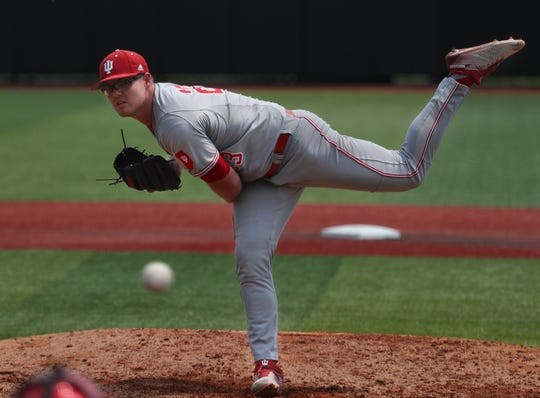 Indiana pitcher Andrew Saalfrank delivers the ball to the plate against Illinois-Chicago in their NCAA regional game on June 1, 2019.