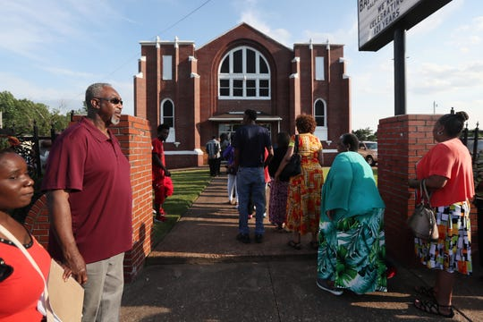 Friends and family gather at the Bloomfield Baptist Church in South Memphis Friday to celebrate the life of Rev. Ralph White.