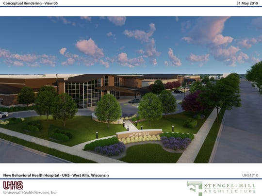 A conceptual rendering of the new Behaviorial Health Hospital - UHS, West Allis, Wisconsin