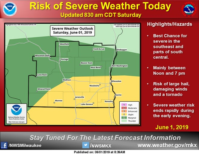 The slight risk area for severe storms on Saturday includes much of the Milwaukee metro area.