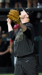 Vanderbilt pitcher Drake Fellows (66) celebrates his 8-2 win over Ohio State during the NCAA Division I Baseball Regionals at Hawkins Field Friday, May 31, 2019, in Nashville, Tenn.