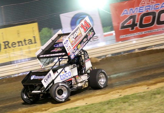 NASCAR Cup champion and newly named NASCAR Hall of Famer Tony Stewart finished 13th in the World of Outlaws Music City National's Friday night at Fairgrounds Speedway Nashville.