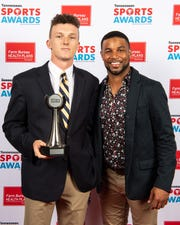 Baseball player of the year Robert Hassell III with Golden Tate backstage at the Tennessean Sports Awards at Music City Center in Nashville, Tenn., Friday, May 31, 2019.