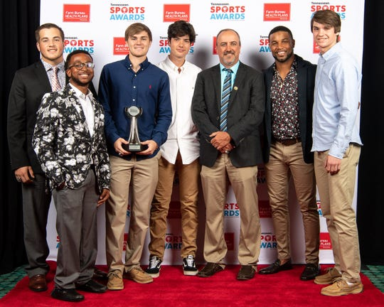 Team of the year winners Oakland football with Golden Tate backstage at the Tennessean Sports Awards at Music City Center in Nashville, Tenn., Friday, May 31, 2019.