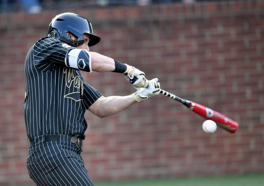 Vanderbilt right fielder JJ Bleday (51) grounds out to second base against Ohio State during the NCAA Division I Baseball Regionals at Hawkins Field Friday, May 31, 2019, in Nashville, Tenn.