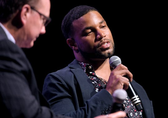 Jerry Punch ask questions of NFL wide receiver Golden Tate during the Tennessean Sports Awards at the Music City Center in Nashville on May 31, 2019.