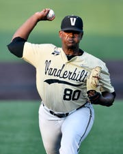 Vanderbilt pitcher Kumar Rocker (80) throws in a pitch in the first inning against Indiana State during the NCAA Division I Baseball Regionals at Hawkins Field Saturday, June 1, 2019, in Nashville, Tenn.