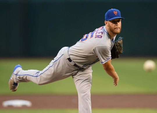 May 31, 2019; Phoenix, AZ, USA; New York Mets starting pitcher Zack Wheeler (45) pitches against the Arizona Diamondbacks during the first inning at Chase Field.
