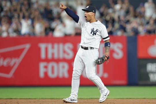 May 31, 2019; Bronx, NY, USA; New York Yankees shortstop Gleyber Torres (25) reacts after catcher Gary Sanchez (not pictured) picks off Boston Red Sox second baseman Eduardo Nunez (not pictured) at second base during the fifth inning at Yankee Stadium.