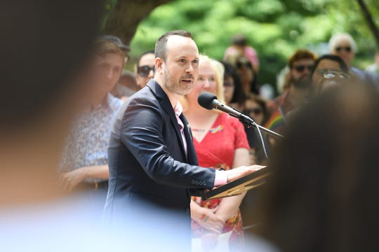 Rob Lyons, Chairman of the Rutherford Pride Alliance, speaks before the raising of a rainbow flag for LGBT pride at Rutherford Borough Hall on Saturday, June 1, 2019.