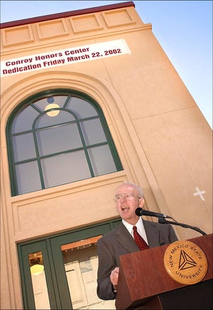 William B. Conroy speaks at a dedication ceremony honoring the opening of the new William B. Conroy Honors Center in 2002.