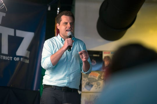 "Congressman Matt Gaetz speaks to the crowd Saturday, June 1, 2019, during his ""Won't Back Down"" town hall meeting at Brew Ha Ha restaurant in Pensacola."