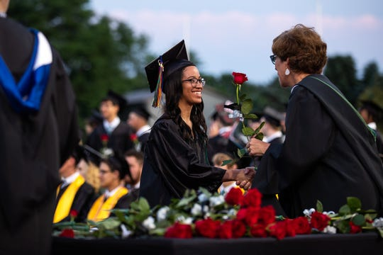 Seniors from South Western High School receive their diplomas during their commencement ceremony, Friday, May 31, 2019, at South Western High School in Penn Township.