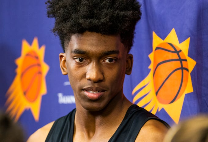 Terance Mann, a guard from Florida State, speaks to the press after working out for the Phoenix Suns at Talking Stick Resort Arena in Phoenix, Friday,
