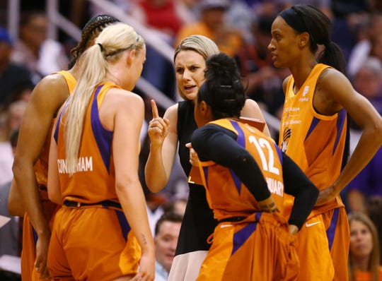 Phoenix Mercury assistant coach Penny Taylor huddles with her players against the Las Vegas Aces in the first half during the home opener on May 31, 2019 in Phoenix, Ariz.