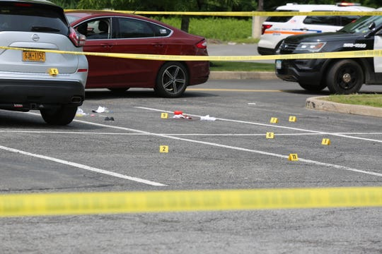 The scene of a fatal shooting at New Paltz Plaza Saturday afternoon.